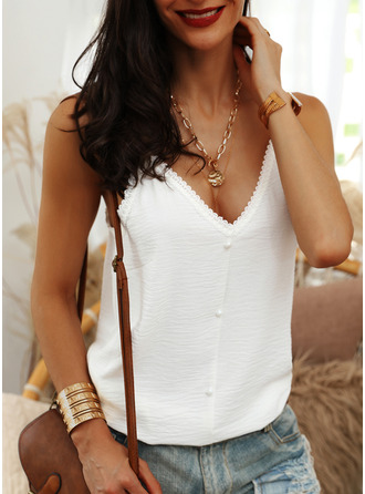 Lace Solid Spaghetti Straps Sleeveless Button Up Casual Tank Tops