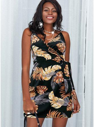 Print Backless Sheath Sleeveless Mini Casual Vacation Type Wrap Dresses