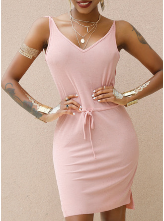 Sheath V-Neck Polyester Dresses