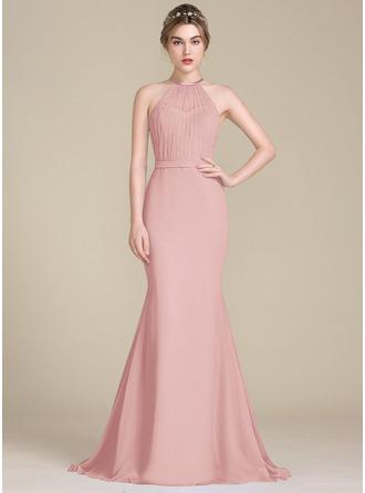 Trumpet/Mermaid Scoop Neck Sweep Train Chiffon Tulle Bridesmaid Dress With Ruffle