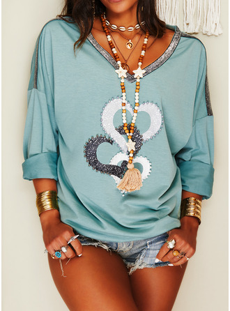 Beaded Print Heart V-Neck Long Sleeves Casual T-shirt