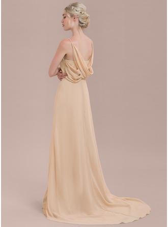 A-Line/Princess V-neck Court Train Chiffon Bridesmaid Dress With Ruffle