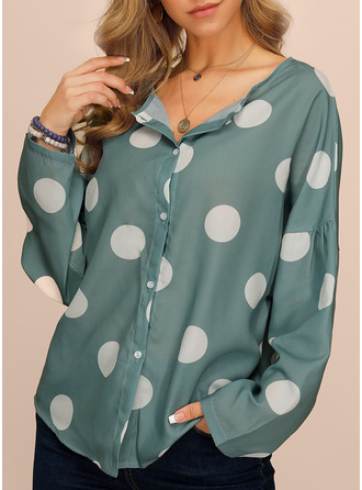 PolkaDot V-Neck Long Sleeves Button Up Casual
