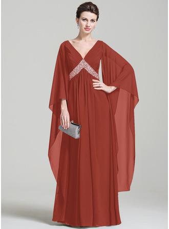 С завышенной талией V-образный Длина до пола шифон Платье Для Матери Невесты с Рябь развальцовка блестки