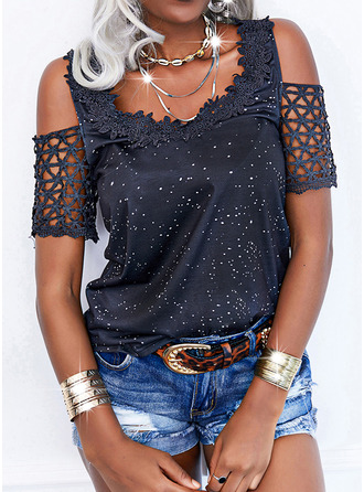Lace Print Hollow-out Cold Shoulder Short Sleeves Casual Blouses