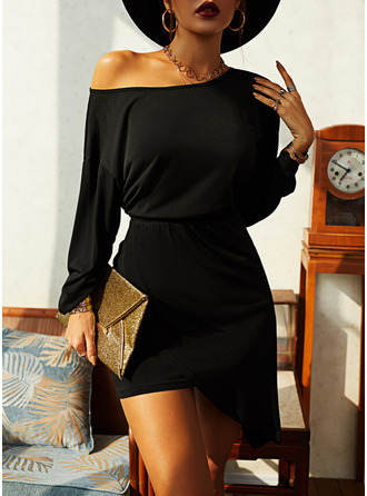 Solid Bodycon Long Sleeves Asymmetrical Little Black Elegant Dresses