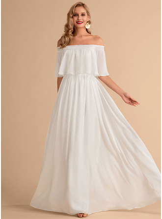 A-Line Floor-Length Chiffon Wedding Dress With Split Front
