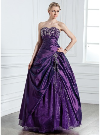 Ball-Gown Sweetheart Floor-Length Taffeta Quinceanera Dress With Embroidered Beading
