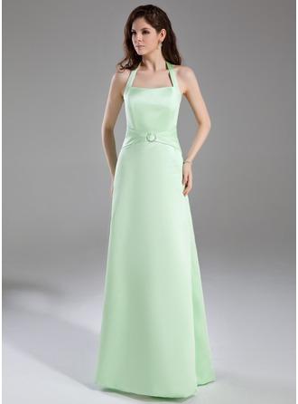 A-Line/Princess Halter Floor-Length Satin Bridesmaid Dress With Ruffle Crystal Brooch