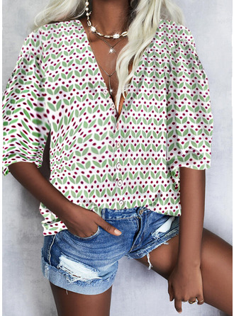 Print V-Neck 3/4 Sleeves Casual Shirt Blouses