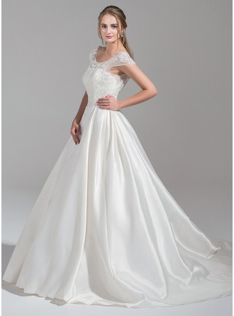 Ball-Gown Scoop Neck Chapel Train Satin Tulle Wedding Dress With Ruffle Beading Appliques Lace Sequins