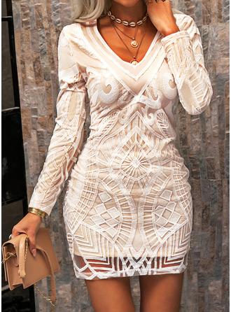 Spitze Einfarbig Figurbetont Lange Ärmel Mini Elegant Modekleider