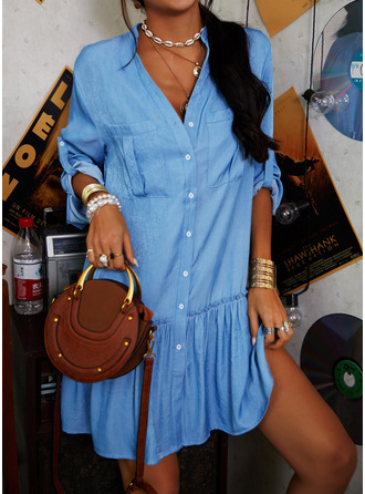 Solid Shift Long Sleeves Mini Casual Vacation Tunic Dresses