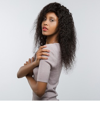 4A non remy Kinky Curly Cheveux humains Perruques avant en dentelle 170g