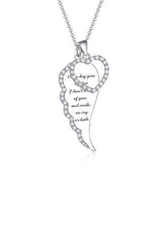 Individualisiert Damen Feder-Entwurf 925 Sterlingsilber mit Runde Zirkonia Name/Graviert Halsketten Ihr/Braut