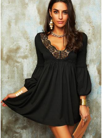 Lace Solid Shift Lantern Sleeve Long Sleeves Mini Little Black Elegant Tunic Dresses