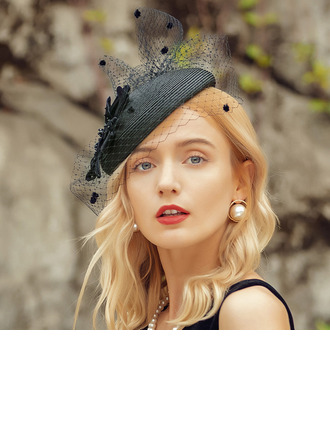 Damer' Elegant/Charmen Netto garn/polyester/Sammet Fascinators/Kentucky Derby Hattar/Tea Party Hattar