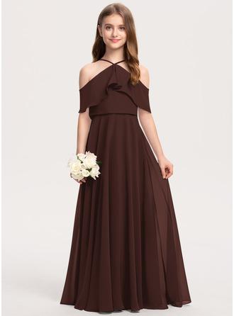 Corte A Off-the-ombro Longos Tecido de seda Vestido de daminha júnior com Babados em cascata