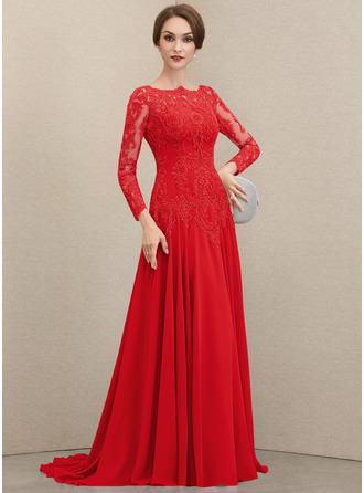A-Linie U-Ausschnitt Sweep/Pinsel zug Chiffon Spitze Kleid für die Brautmutter mit Pailletten