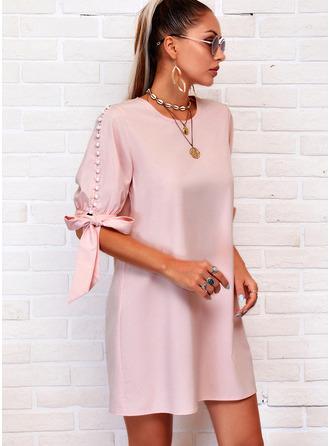 Jednolity Wysadzana perełkami Suknie shift Rękawy 1/2 Mini Nieformalny Tunika Modne Suknie