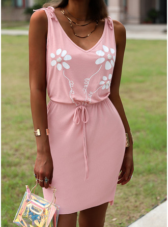 Floral Print Sheath Sleeveless Mini Casual Dresses
