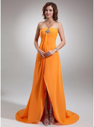 Empire Sweetheart Asymmetrical Chiffon Holiday Dress With Ruffle Beading