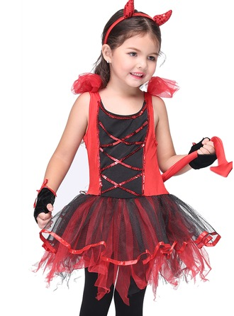 A-Line/Princess Knee-length Flower Girl Dress - Polyester Sleeveless Straps