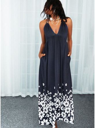 Floral Print Backless A-line Sleeveless Maxi Casual Skater Dresses