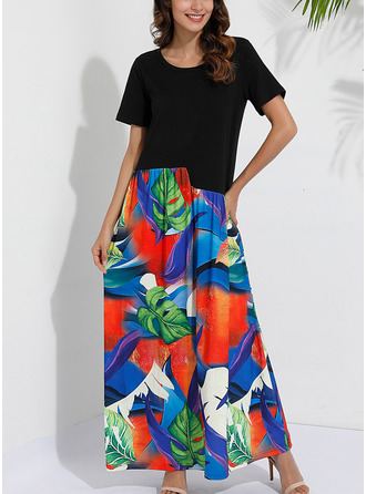 Print Shift Short Sleeves Maxi Casual Vacation Dresses
