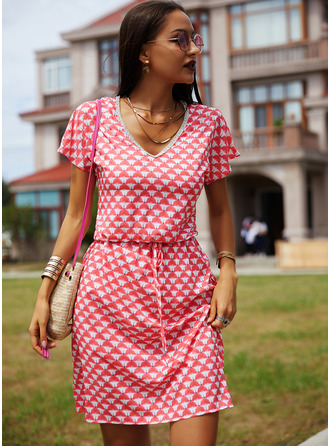 Print A-line Short Sleeves Midi Casual Skater Dresses