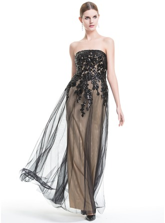 A-Line/Princess Strapless Floor-Length Tulle Evening Dress With Sequins