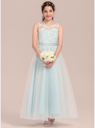 A-Line/Princess Scoop Neck Ankle-Length Tulle Junior Bridesmaid Dress With Beading
