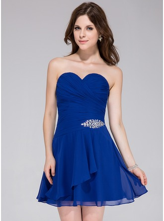 A-Line/Princess Sweetheart Short/Mini Chiffon Homecoming Dress With Beading Cascading Ruffles