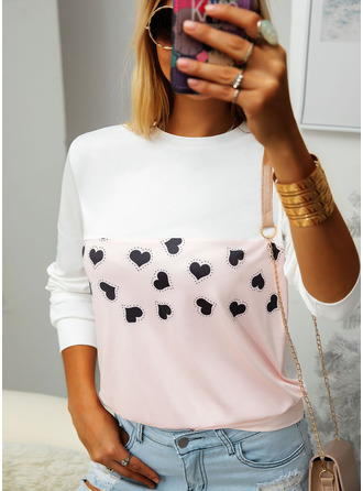 Color Block Print Round Neck Long Sleeves Casual T-shirt