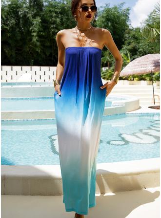 uvázat barvivo Do tvaru A Bezrukávů Maxi Dovolená Módní šaty