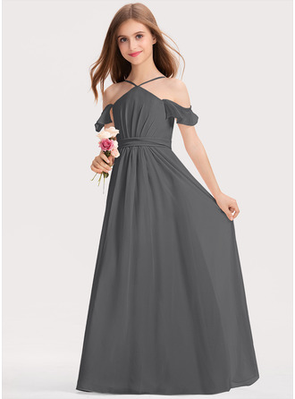 A-linjainen V-kaula-aukko Lattiaa hipova pituus Sifonki Nuorten morsiusneito mekko jossa Rypytys Rusetti
