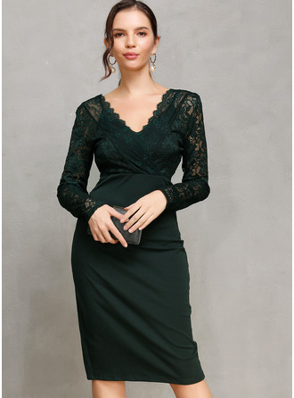 Polyester With Lace/Solid/Slit Knee Length Dress