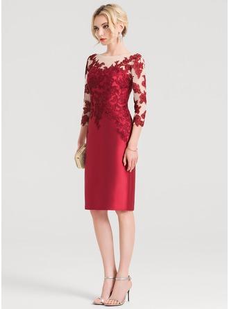 Sheath/Column Scoop Neck Knee-Length Satin Cocktail Dress