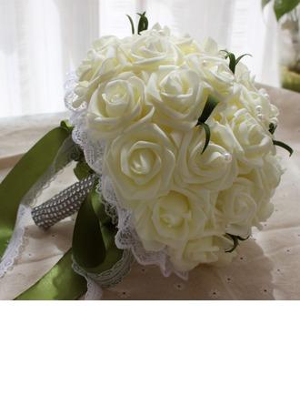 Bonito Redondo Espuma Buquês de noiva (Vendido em uma única peça) - Buquês de noiva
