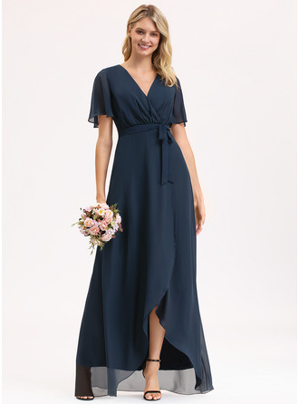A-Line V-neck Asymmetrical Chiffon Evening Dress With Bow(s)