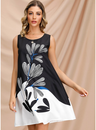Above Knee Round Neck Polyester Print Sleeveless Fashion Dresses