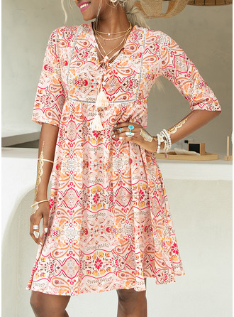 Above Knee V neck Polyester Print 1/2 Sleeves Fashion Dresses