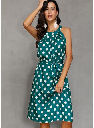 PolkaDot A-line Sleeveless Midi Casual Dresses