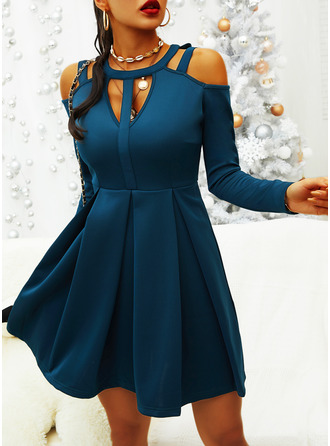 Solid A-line Cold Shoulder Sleeve Long Sleeves Mini Party Elegant Skater Dresses