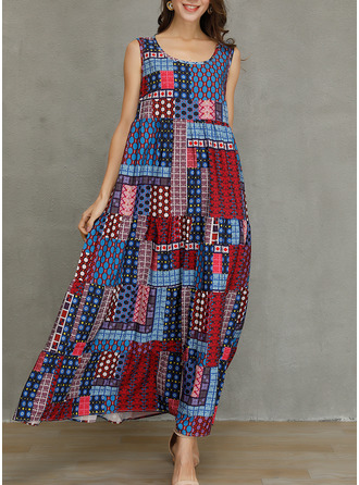 Patchwork Shift Sleeveless Maxi Casual Tank Dresses