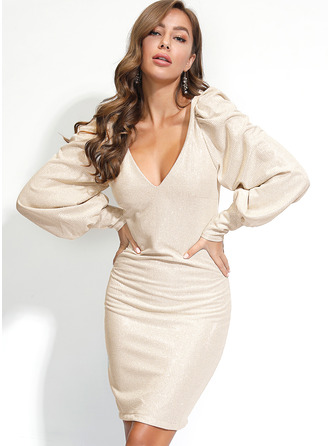 Above Knee V neck Polyester Sequins Long Sleeves Fashion Dresses