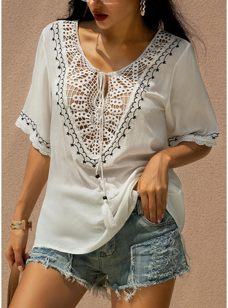Lace Solid 3/4 Sleeves Polyester V Neck Knit Blouses