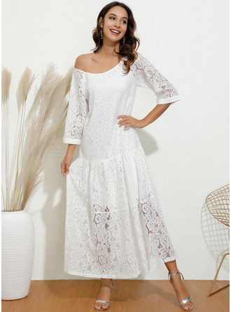 Maxi One Shoulder Polyester Lace/Solid 3/4 Sleeves Fashion Dresses
