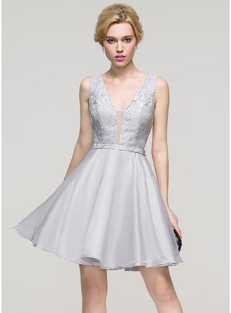 Трапеция/Принцесса V-образный Мини-платье Органза Платье для Встречи Выпускников