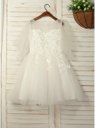 A-Line/Princess Knee-length Flower Girl Dress - Tulle/Lace 1/2 Sleeves Scoop Neck With Flower(s)